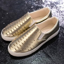 Fashion Metal Color Hollow Out Flats Women Shoes