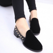 British Style Rivets Pointed Toe Slip On Flats Shoes