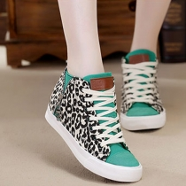 Fashion Leopard Contrast Color Lace Up Sneakers Casual Shoes