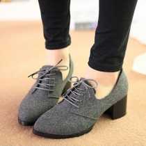 Vintage Thick Heel Pointed Toe Lace Up Shoes