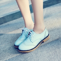 Retro Hollow Out Carving Pointed Toe Lace Up Flat Heel Shoes