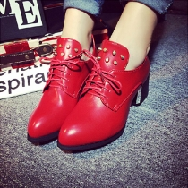 Retro Rivets Pointed Toe Square Heel Lace Up Shoes