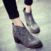Fashion Thick High-heeled Round Toe Ankle Booties