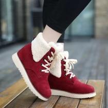 Fashion Round Toe Flat Heel Lace Up Warm Cotton Boots