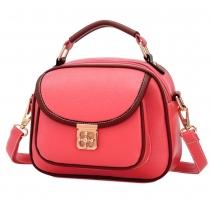 Vintage Contrast Color Plum Lock Handbag Shoulder Bag Cross Body Bag