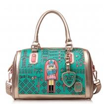 Contrast Color Hollow Out Handbag Shoulder Messenger Bag