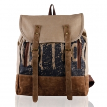 Retro Contrast Color Canvas Backpack Travelling Bag