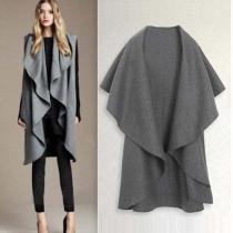 Mode Cape-stijl Onregelmatige Wollen Vest