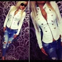 Mode Staande Kraag Metaal Dubbele Knopenrij Lange Mouw Jacket