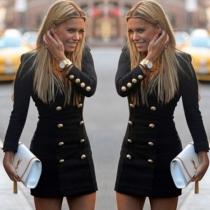 Mode V-hals Lange Mouw Dubbele-Knopenrij Slim Fit Jurk(Het valt klein)