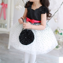 Children Wedding Flower Girl Polka Dots Contrast Color Tulle Dress