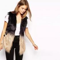 Fashion Contrast Color Leather Spliced Faux Fur Vest Coat