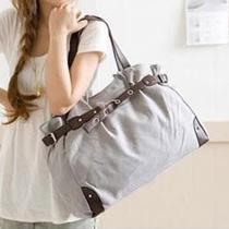 Fashion Belt Buckle Canvas Shoulder Bag