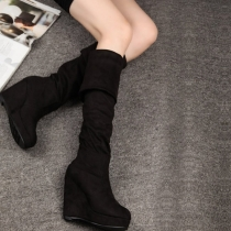 Fashion Round Toe Wedge Heel Over The Knee Boots