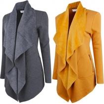 Modern Effen Kleur 2-zijdig Ritssluiting Revers Lange Mouwen Vest