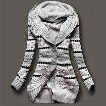 Mode Lange Mouwen Capuchon Gedrukt Warm Vest Jas