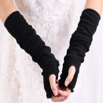 Mode Effen Kleur Vingerloze Gebreide Lange Handschoenen