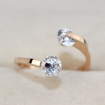 Mode 18K Roosgoud Bergkristal Vrouwen Ring