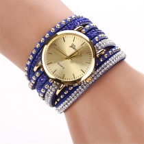 Punk Stijl Multi-lagen Klinknagels Bergkristal Horloge Armband Horloges