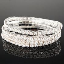 Luxueus Enkele Rij Bergkristal Kristal Stretch Armband