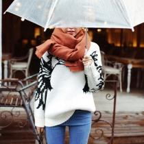 Mode eenkleurig Uniseks Warm Sjaal