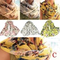 Mode Fleurige Print Chiffon Sjaal Halsdoeken