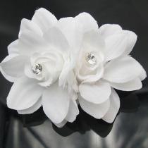 Lief Stijl Bergkristal Wit 3D Bloemen Haar Clips Haarnaalden