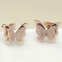 Mode Roze Verguld Vlindervormig Oorbellen
