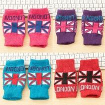 Mode Britse Vlag Patroon Gebreide Vingerloze Handschoenen