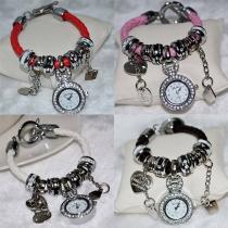 Mode Hart Bergkristal Wijzer Hanger Armband Horloge
