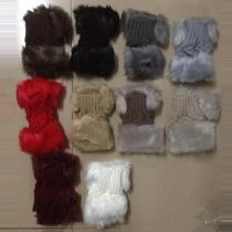Mode Namaakbont Versiert Gebreide Handschoenen Halve Vingers