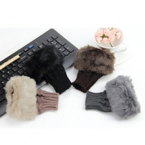Mode Namaakbont Versierde Warme Gebreide Handschoenen Halve Vingers