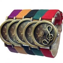 Mode Lederen Armband Uitgesneden Muzieknoot Ronde Wijzerplaat Kwartshorloge