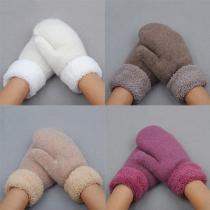 Mode Effen Kleur Warm Gebreide Handschoenen