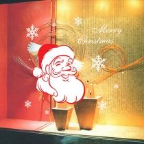 Schattige Kerstman Sneeuwvlokkenpatroon Verwijderbare Muurstickers
