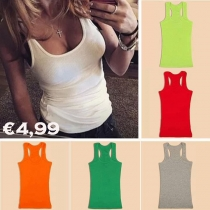 Mode Candy Kleur Ronde Nek Tank Top
