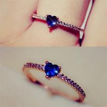 Mode Hartvormige Saffier Bergkristal Ring