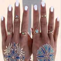 Retrostijl Olifant Letters Turquoise Snijwerk Ring Set