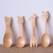 Cartoon Stijl Ecologisch Kattengezicht / Alpacagezicht / Giraffengezicht Kinderen Houten Lepel