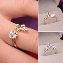 Modern Elegant Bergkristal Bladeren Bloemenvorm Open Ring