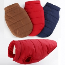 Modern Warm Effen Kleur Knoppenlijst Vest voor Honden