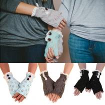 Modern Bladeren Patroon Kant Gebreide Vingerloze Handschoenen