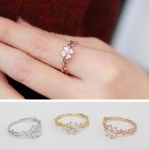 Modern Bergkristal Klavertjevier Ring