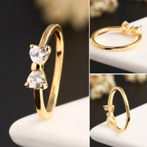 Sweet Stijl Bergkristal Strikje Gouden Ring