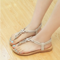 Bohemian Style Flat Heel Beaded Thong Sandals