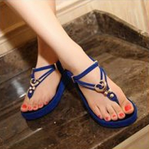 Bohemian Style Thick Sole Beaded Thong Sandals