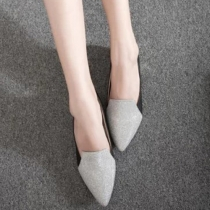 Fashion Contrast Color Pointed Toe Thick Heel Shoes