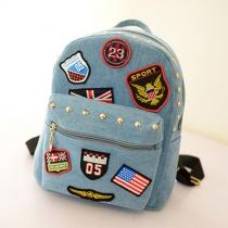 Fashion Badge American Flag Rivets Canvas Backpack