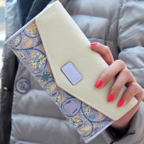 Pastoral Style Contrast Color Floral Print Three-fold Wallet