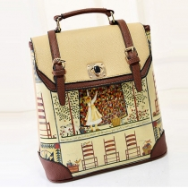 Retro Print Graffiti Backpack Travelling School Bag